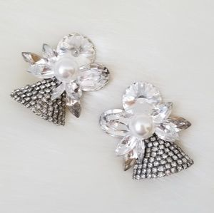 Vintage Rhinestone Sparkle Clip On Earrings 80's